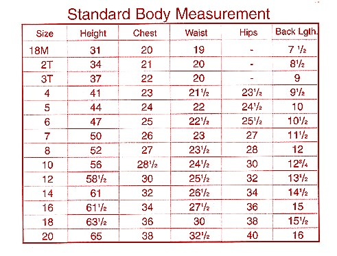 CheerKids Uniforms Size Chart